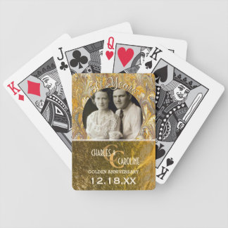 Monogram | van het Jubileum van de gouden bruiloft Bicycle Speelkaarten