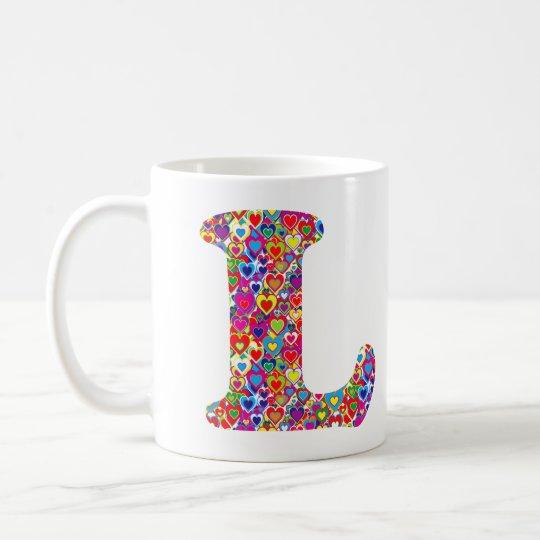 Monogram van L van de pret het Kleurrijke Koffiemok