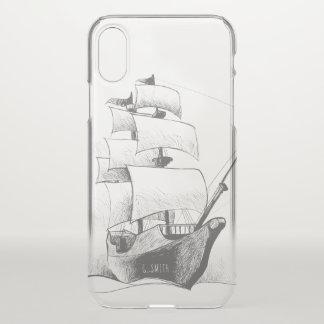 Monogram. Zeevaart. Hand Getrokken Schip iPhone X Hoesje
