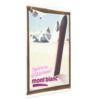 mont blanc Snowboarding reisaffiche Canvas Afdrukken