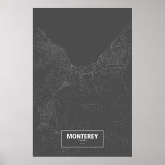Monterey, wit Californië (op zwarte) Poster
