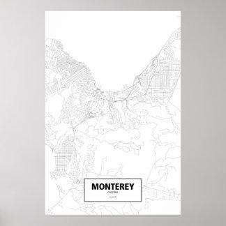 Monterey, zwart Californië (op wit) Poster