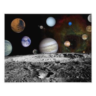 Montering van de de planeten en manen van Jupiter Foto Kunst