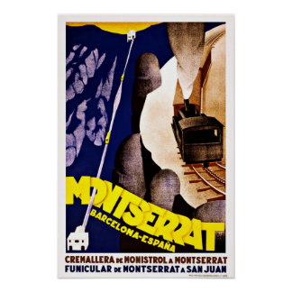 Montserrat Barcelona Espana Vintage Reis Poster