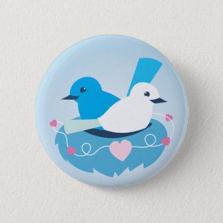 Mooi Blauw het winterkoninkjewit van liefdevogels Ronde Button 5,7 Cm