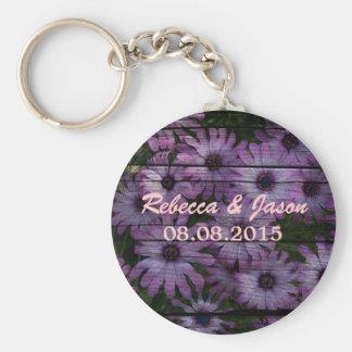 Mooi elegant paars madeliefje bloemenontwerp sleutelhanger