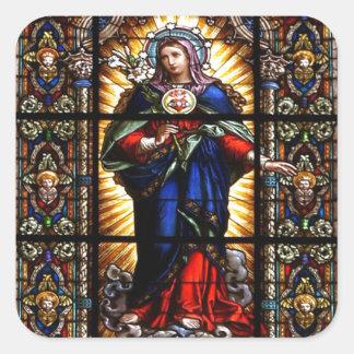 Mooi Godsdienstig Heilig Hart van Maagdelijke Mary Vierkant Stickers