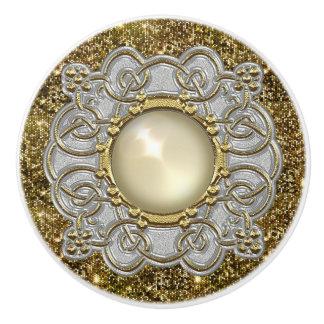 Mooi Goud & Zilver met het Ontwerp van het Juweel Keramische Knop