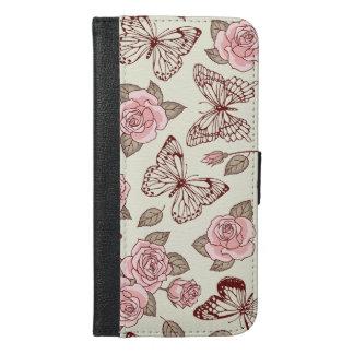 Mooi Ontwerp met Rozen en Vlinders iPhone 6/6s Plus Portemonnee Hoesje