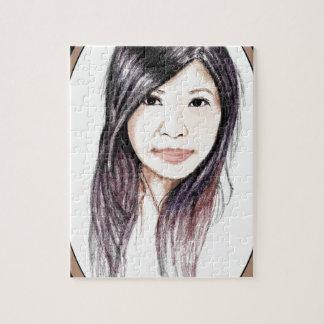 Mooi Portret van een Aziatische Vrouw Foto Puzzels