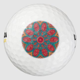 Mooi Roze Blauwgroen Oranje Patroon Zen Golfballen