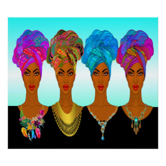 Mooie Afrikaanse Amerikaan/Zwarten Poster