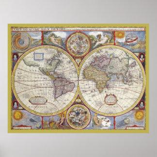 Mooie Antiek en Vintage oude wereldKaart Poster