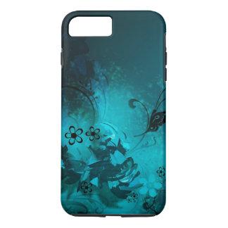 mooie blauwe bloemen en buterfly vectorart. iPhone 7 plus hoesje