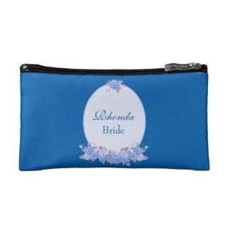 Mooie Blauwe Bloemen van de Bruid Make-up Bag