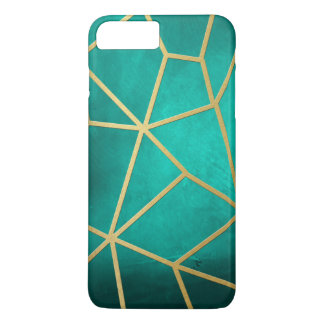 Mooie Blauwgroen Gouden Geribbeld Mozaïek iPhone 8/7 Plus Hoesje