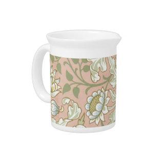 Mooie bloemen antiek druk bier pitcher