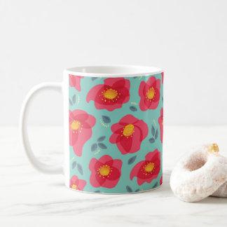 Mooie BloemenPatroon met Heldere Roze Koffiemok