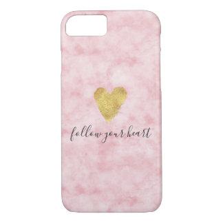 Mooie bloos het Roze Gouden Hart van de Waterverf iPhone 8/7 Hoesje