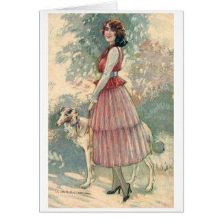 Mooie Dame Walking Her Dog, Wenskaart