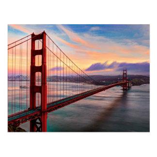Mooie de winterzonsondergang in Golden gate bridge Briefkaart