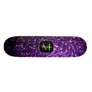 Mooie Donkere Paars schittert fonkelingenMonogram Skate Deck