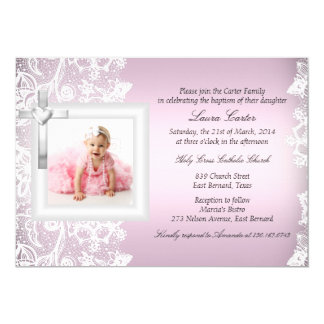 Mooie Elegant Kant & Dwars Roze Doopsel/Doopsel 12,7x17,8 Uitnodiging Kaart