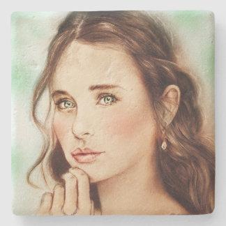 Mooie Elegante Dame Stone Coaster, Vintage Art. Stenen Onderzetter