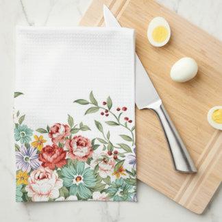Mooie elegante de vintage lente bloemenboeketten theedoek