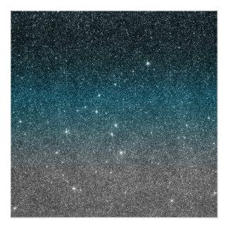 Mooie Faux schittert Gradiënt in Zwarte, Wit Perfect Poster