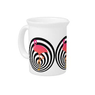 Mooie flamingo in cirkels drank pitcher