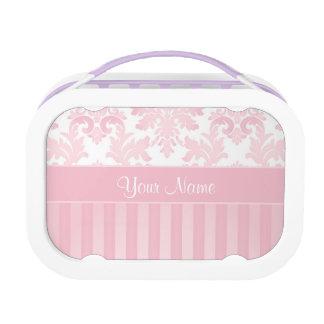 Mooie Gepersonaliseerd Roze Damast en Strepen Lunchbox
