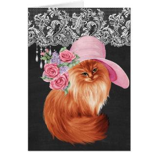 Mooie geschilderde kat in Victoriaans Pet op Kaart