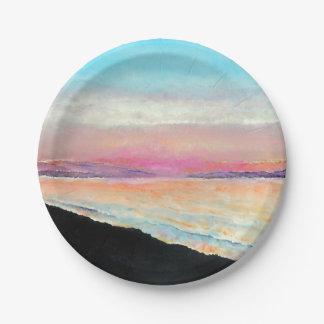 Mooie Geschilderde Zonsondergang in Pastelkleuren Papieren Bordje