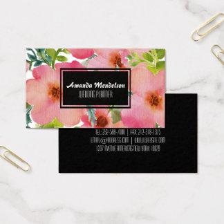 Mooie getrokken waterverfhand bloemen visitekaartjes