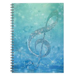 Mooie glittery glanzende effect blauwe g-sleutel ringband notitieboek