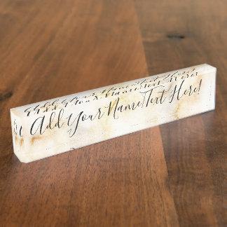 Mooie Gouden Marmeren Elegante Modern van de Druk Naambord
