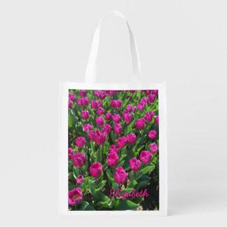 Mooie Heldere Roze Tulpen Gedrukte Naam Herbruikbare Boodschappentas
