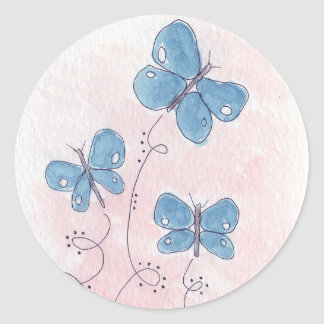 Mooie in Roze Blauwe Vlinder Ronde Sticker