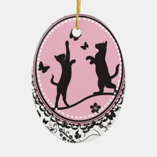 Mooie Kat Keramisch Ovaal Ornament