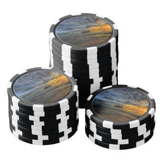 Mooie kust bij zonsondergang pokerchips