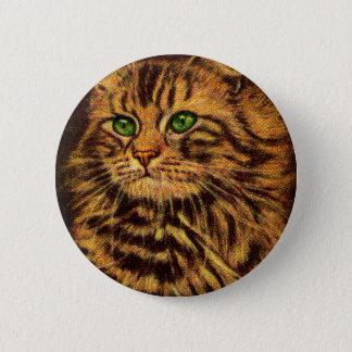 mooie langharige gestreepte katkat ronde button 5,7 cm