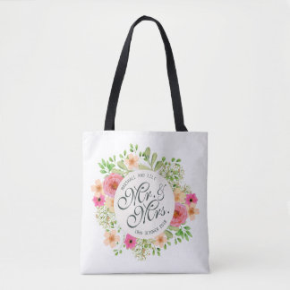 Mooie M. en Mevr. Floral Wedding Canvas tas