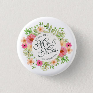 Mooie M. en Mevr. Floral Wedding Pin Button