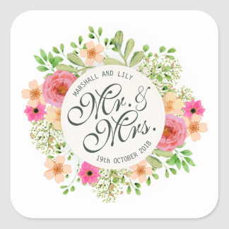 Mooie M. en Mevr. Floral Wedding Sticker Seal