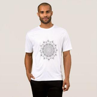 Mooie mandala zwart-witte desing bloem t shirt