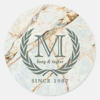 Mooie Marmer van het Monogram van het Blad van de Ronde Sticker