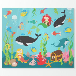 Mooie Meerminnen & het Leven van het Zee (Med. Cadeaupapier