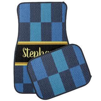 Mooie monogram lichtblauw en blauw ontwerp auto vloermat