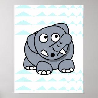 mooie olifant op baby chevron het achtergrond van poster